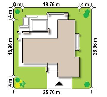 Современный одноэтажный дом с двойным гаражом и плоской крышей план помещений 1