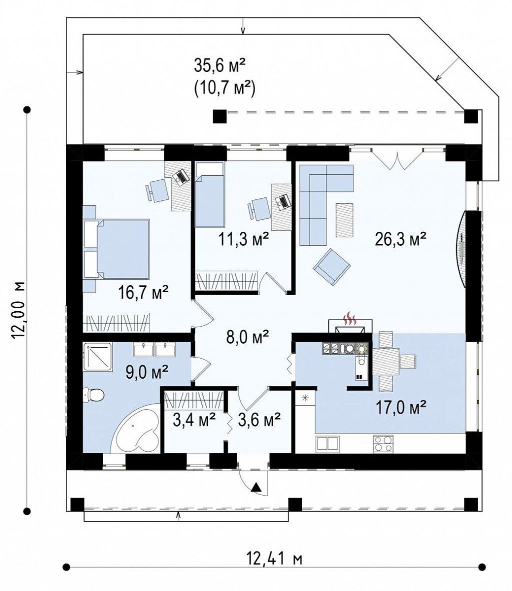 Одноэтажный дом с дополнительной фронтальной террасой. план помещений 1