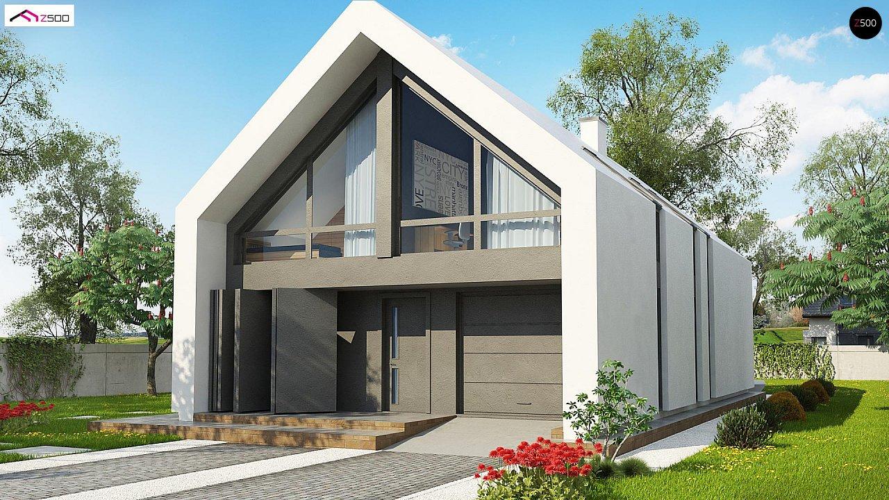 Мансардный дом со встроенным гаражом для одного автомобиля. 2