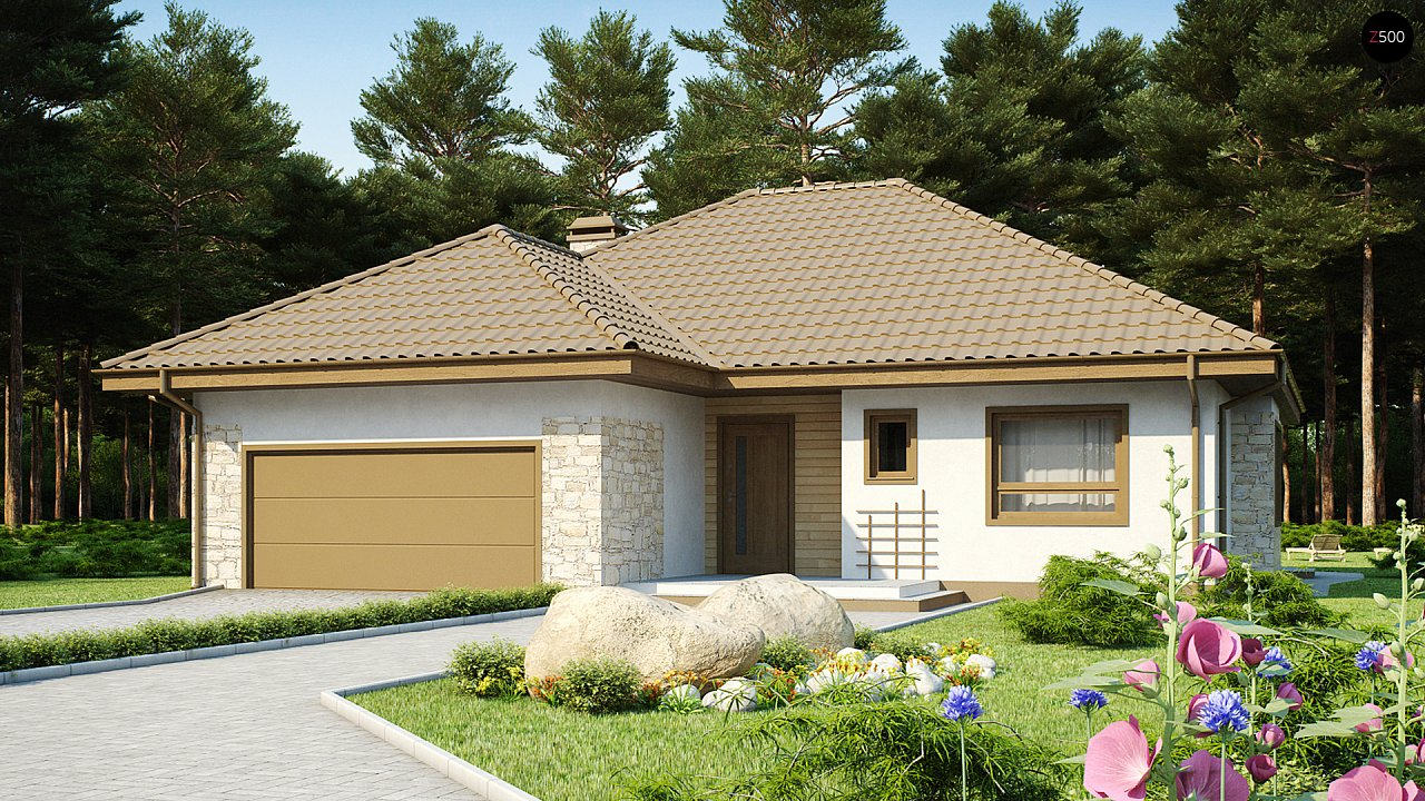 Одноэтажный удобный дом с фронтальным гаражом, с возможностью обустройства мансарды. - фото 2