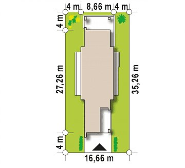 Комфортный одноэтажный дом для узкого участка. план помещений 1