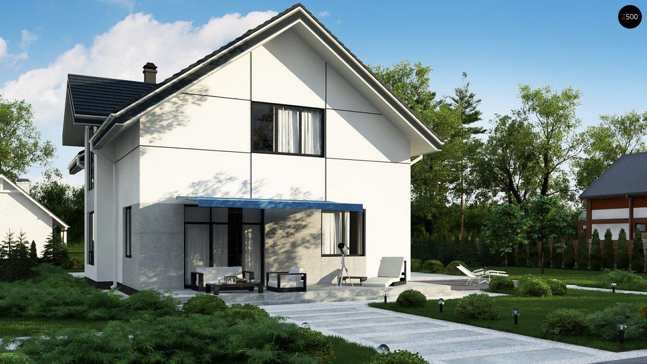 Проект оригинального двухуровневого современного дома без гаража. 4