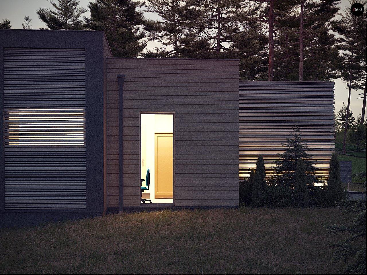 Одноэтажный дом в стиле хай-тек с плоской кровлей и большой площадью остекления. 19