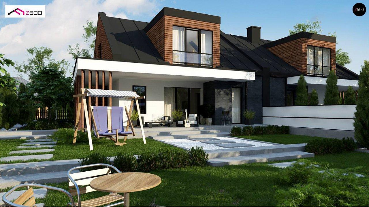 Современный двухсемейный дом с двускатной крышей 3
