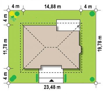 Одноэтажный дом с многоскатной кровлей, эркером и камином на террасе. план помещений 1