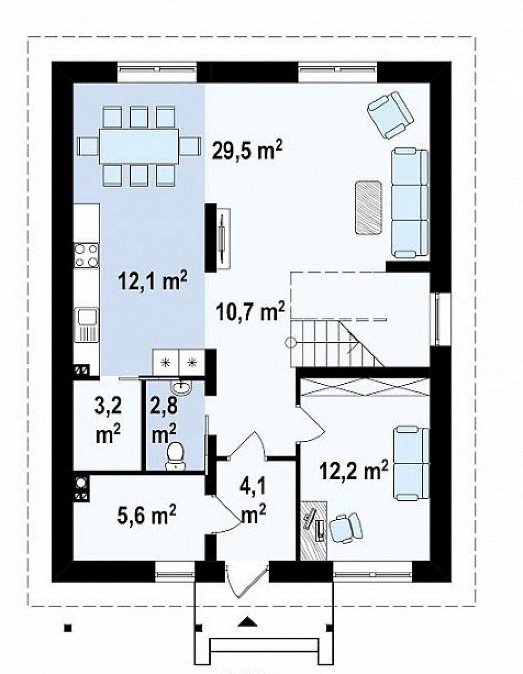 Проект элегантного дома с четырехскатной кровлей. план помещений 1