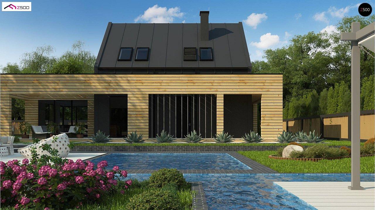 Современный дом с 2-х скатной кровлей, окруженный террасой с плоской крышей. 6