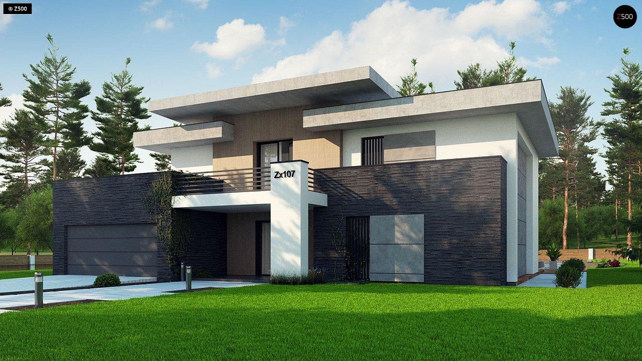 Красивый и комфортный дом с плоской кровлей, гаражом на две машины и просторными террасами. - фото 4