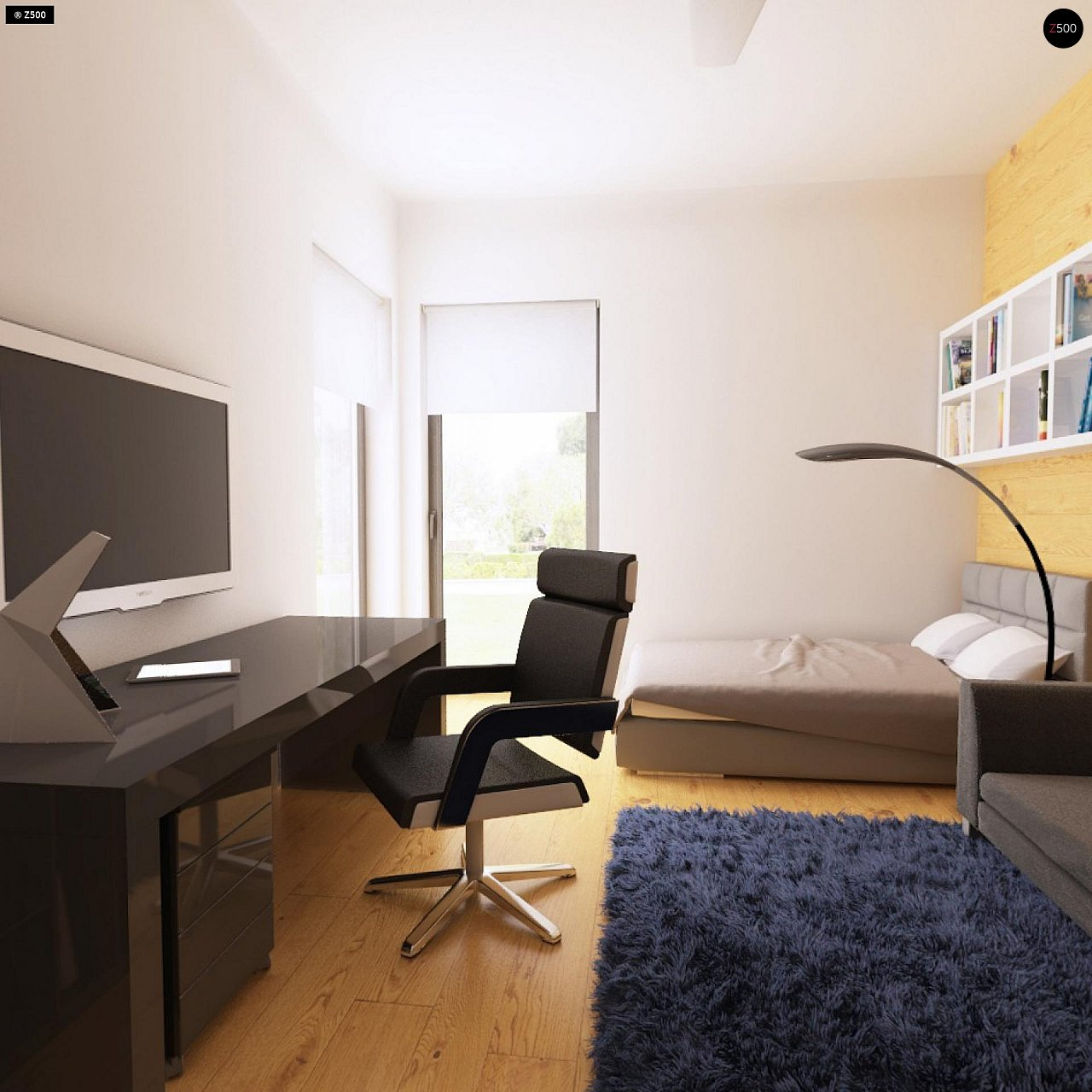 Одноэтажный дом модернистского характера с гаражом для двух автомобилей. 20