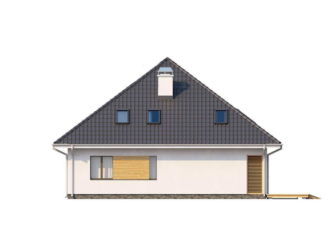 Красивый и функциональный дом с боковой террасой и необычным мансардным окном. 4