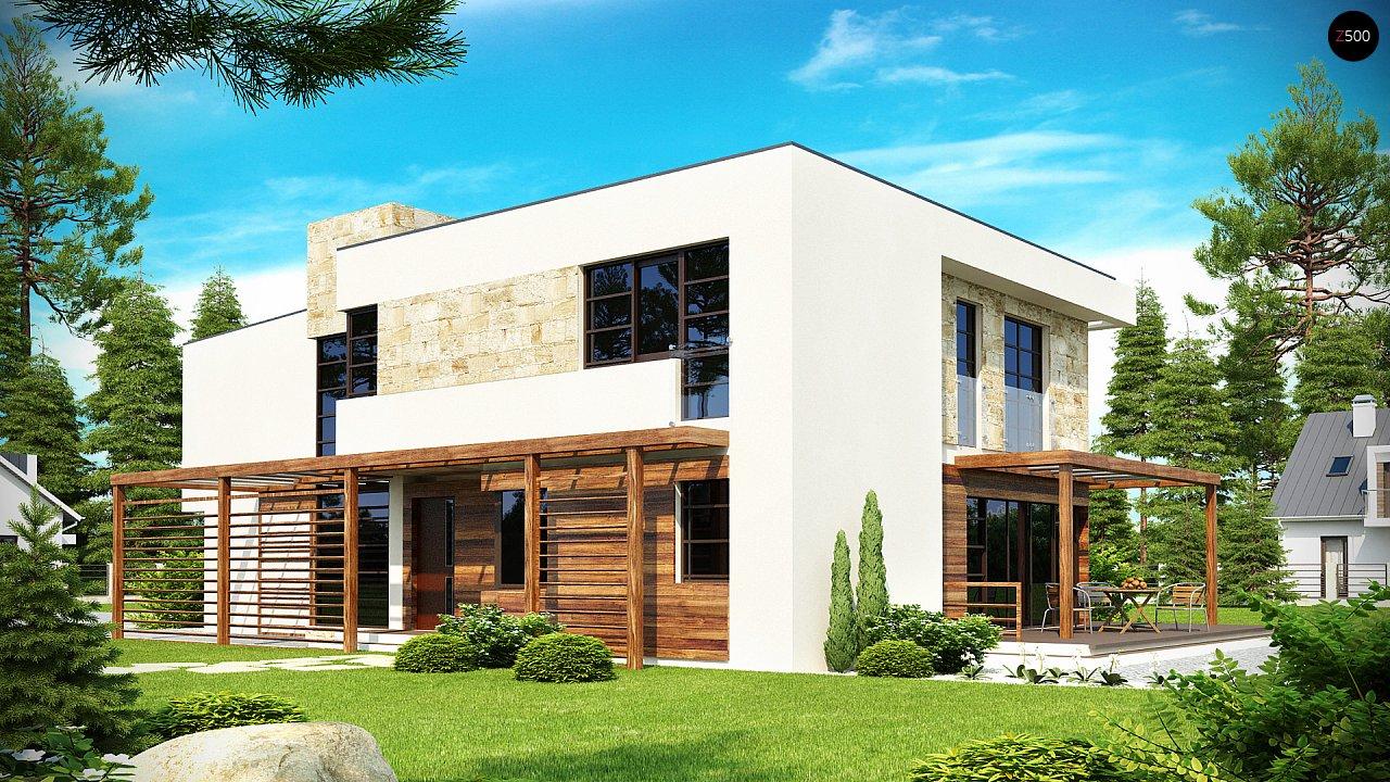 Двухэтажный дома в стиле модерн с практичным интерьером и гаражом для двух автомобилей. 2