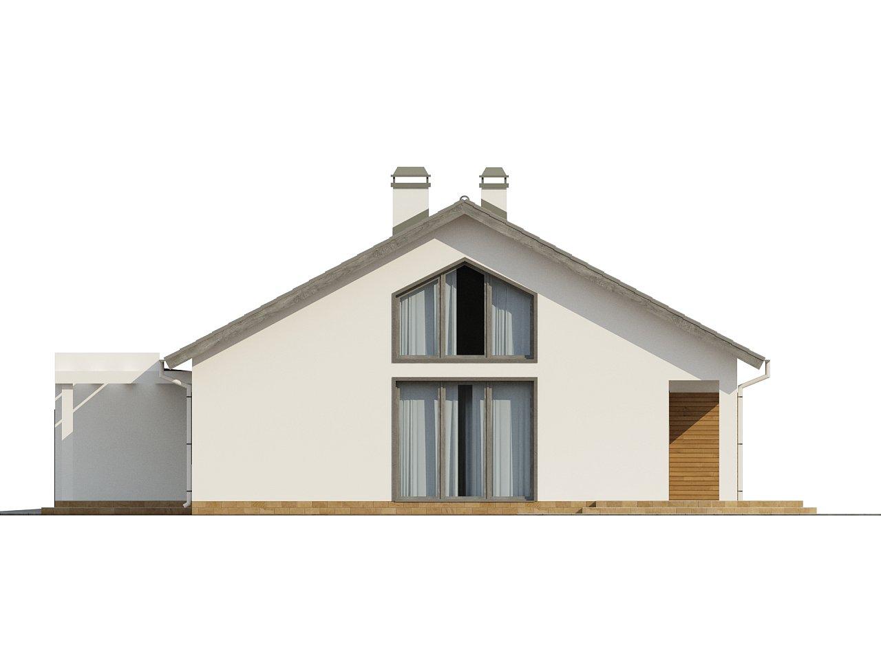 Дом традиционной формы с современными архитектурными дополнениями. Свободная планировка мансарды и антресоль над гостиной. 22