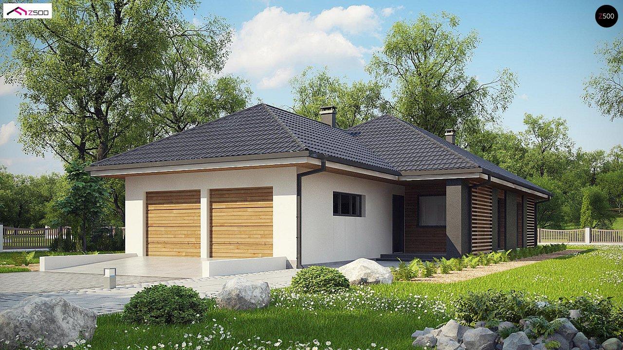 Одноэтажный дом в современном стиле с двойным гаражом 1
