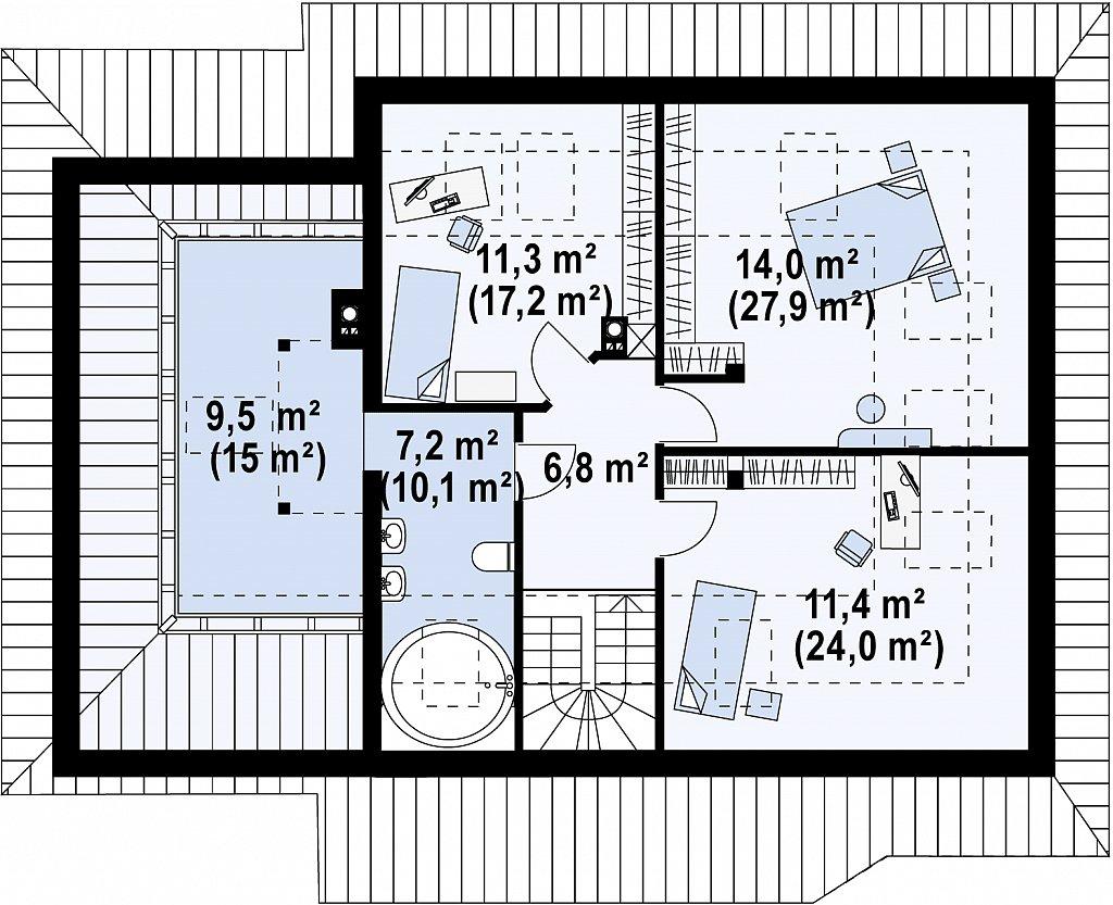 Просторный дом с гаражом, большим хозяйственным помещением и угловой террасой. план помещений 2