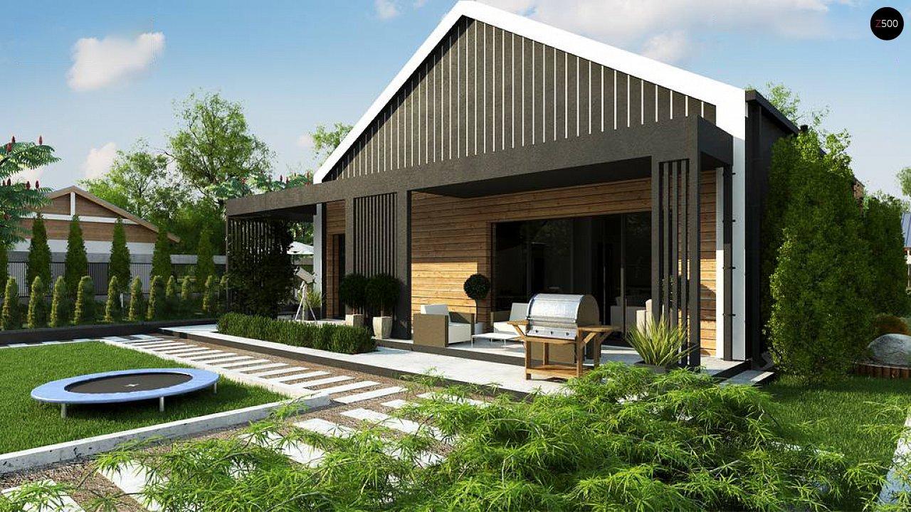 Современный мансардный проект дома с террасой и гаражом на две машины 3