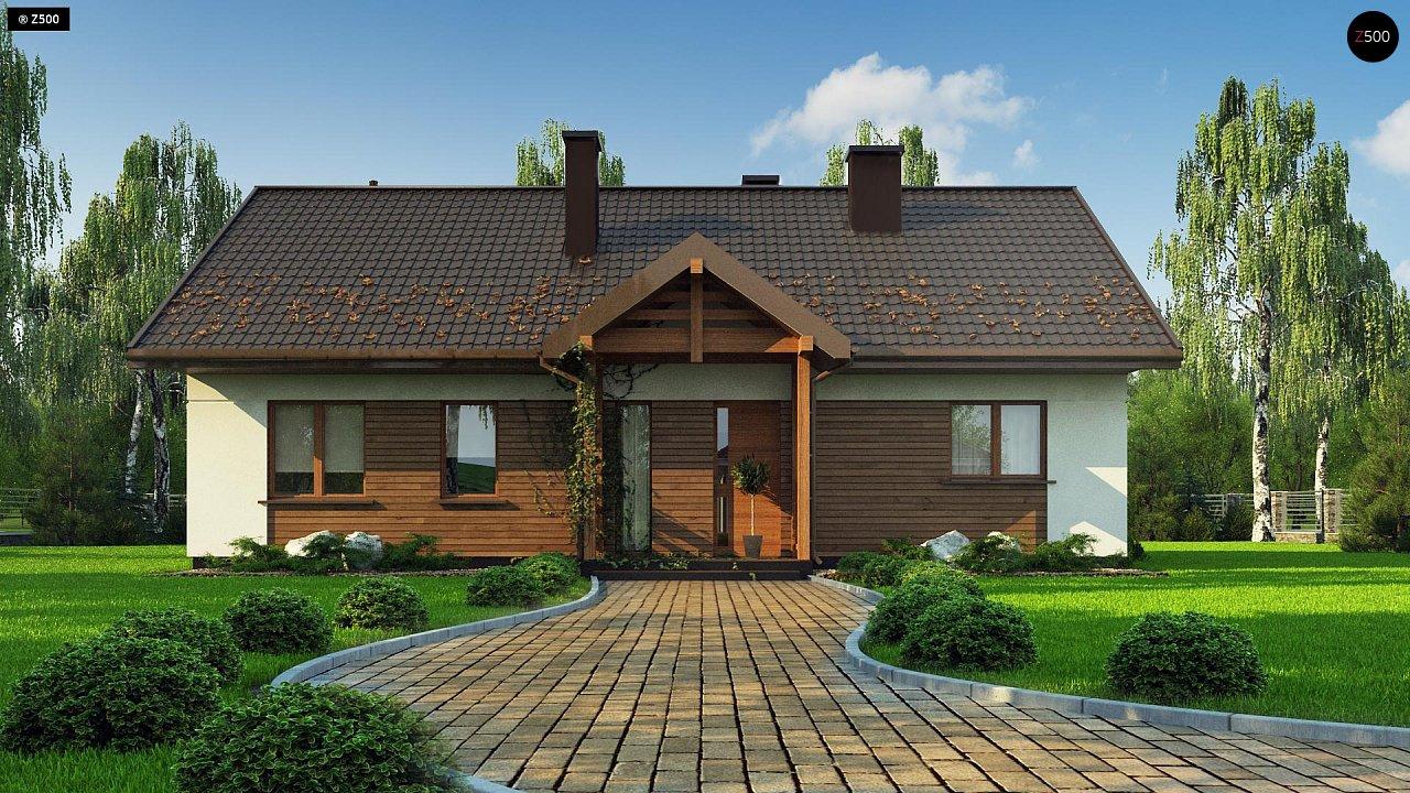 Аккуратный одноэтажный дом с деревянной отделкой на фасадах. 2