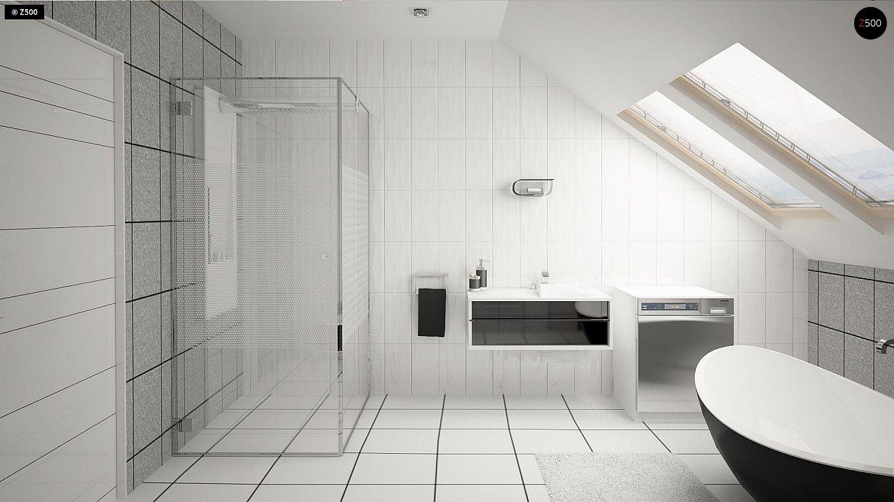 Проект аккуратного мансардного дома, с современным дизайном фасадов. 10