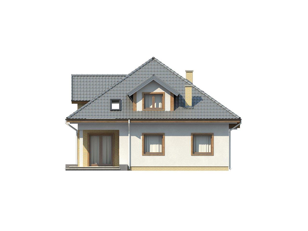 Проект дома с мансардой, с большим техническим помещением и дополнительной спальней на первом этаже. - фото 4