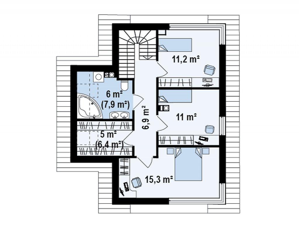 Компактный двухэтажный дом с большими окнами, подходящий для узкого участка. план помещений 2