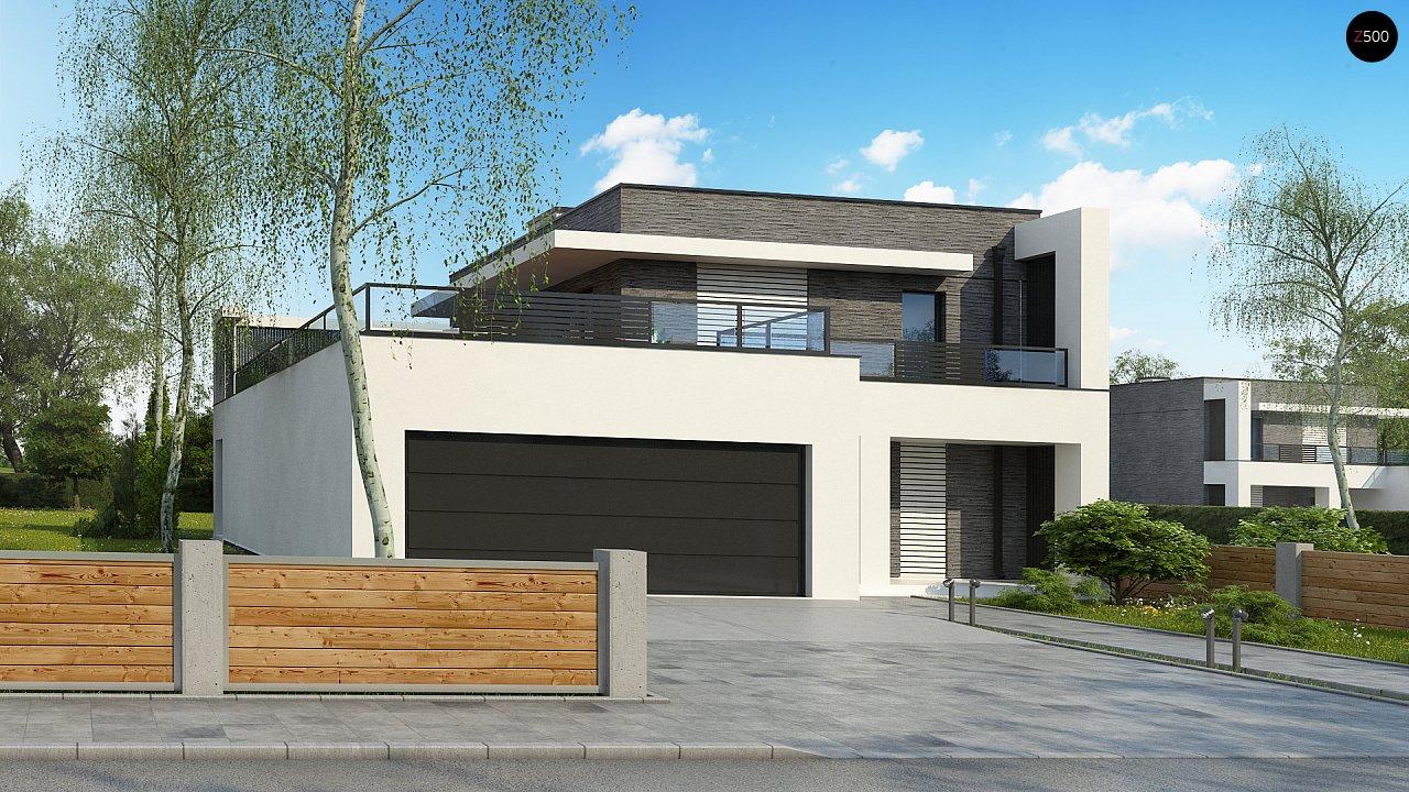 Современный проект домов-близнецов с большим гаражом и террасой на втором этаже. 11
