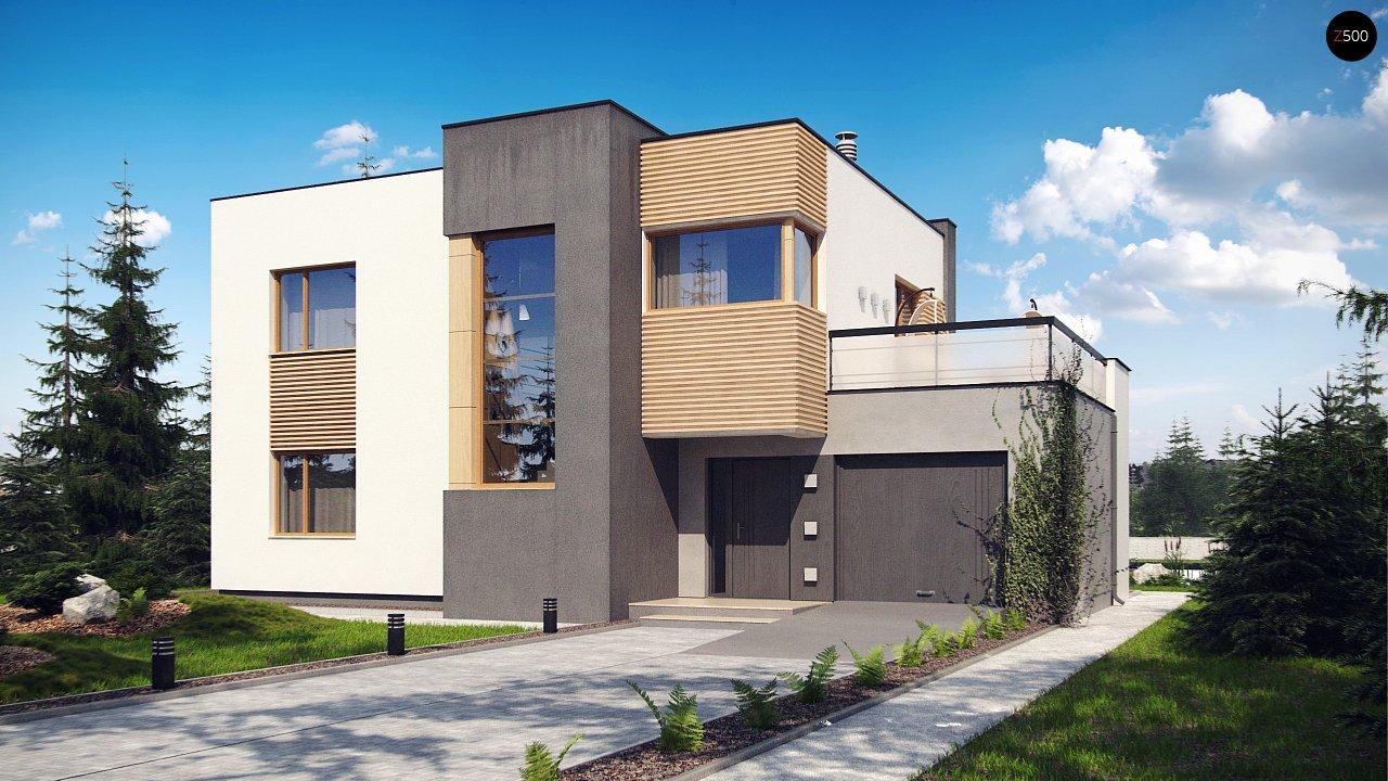 Двухэтажный дом в модернистского дизайна с гаражом и террасой на верхнем этаже. 1