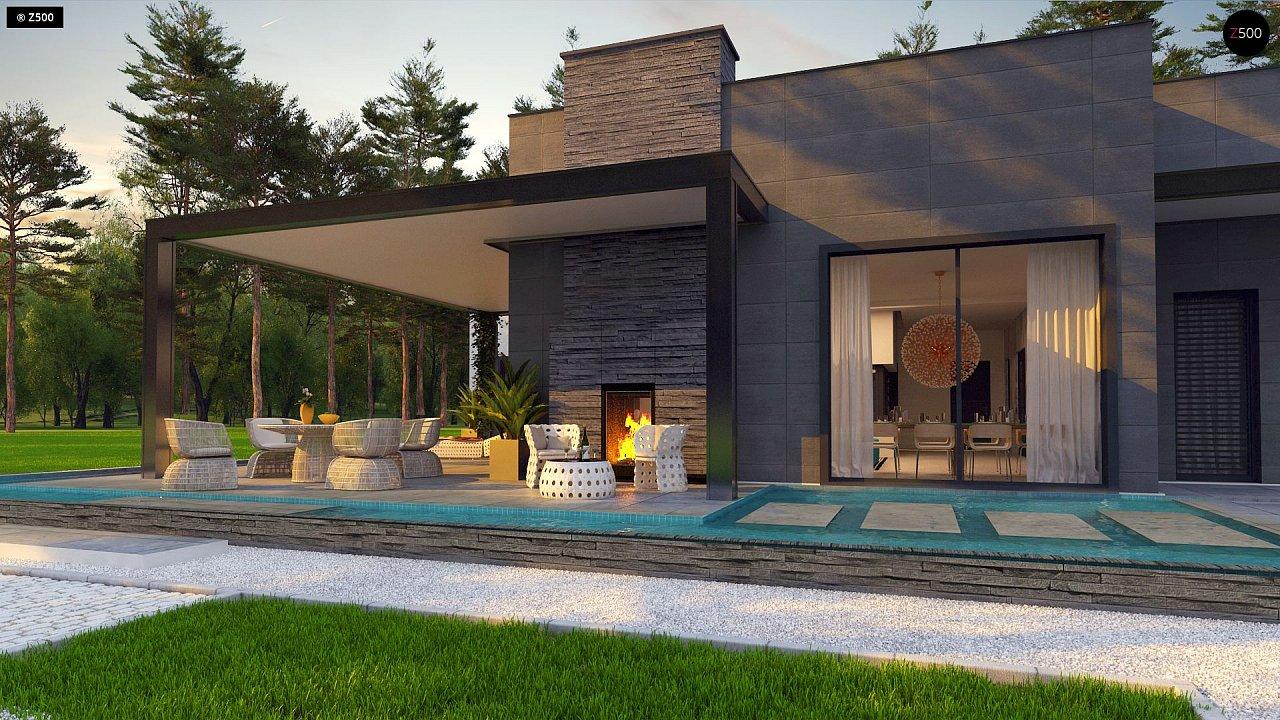 Одноэтажный дом с плоской кровлей в современном стиле и навесом для двух машин 3