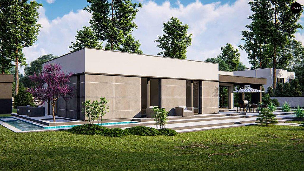 Современный одноэтажный дом с внешним камином 4
