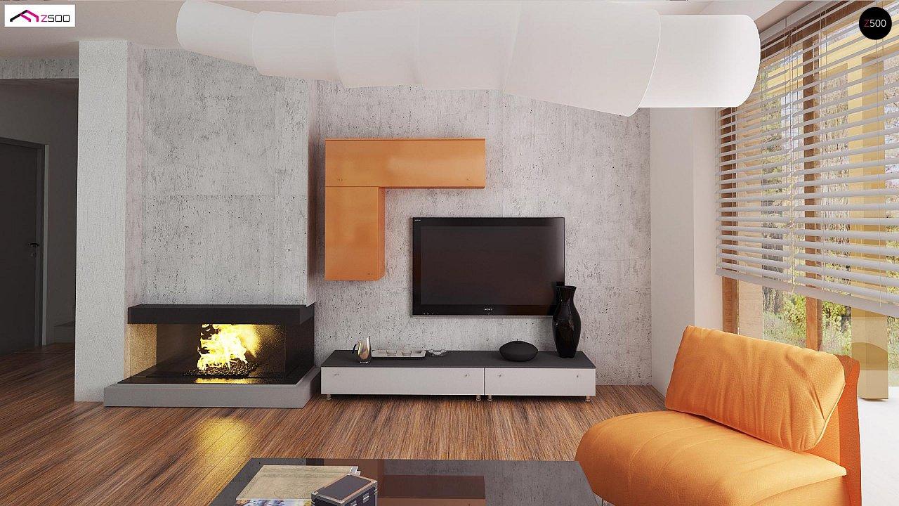 Элегантный дом простой формы со встроенным гаражом, эркером и балконом над ним. 5