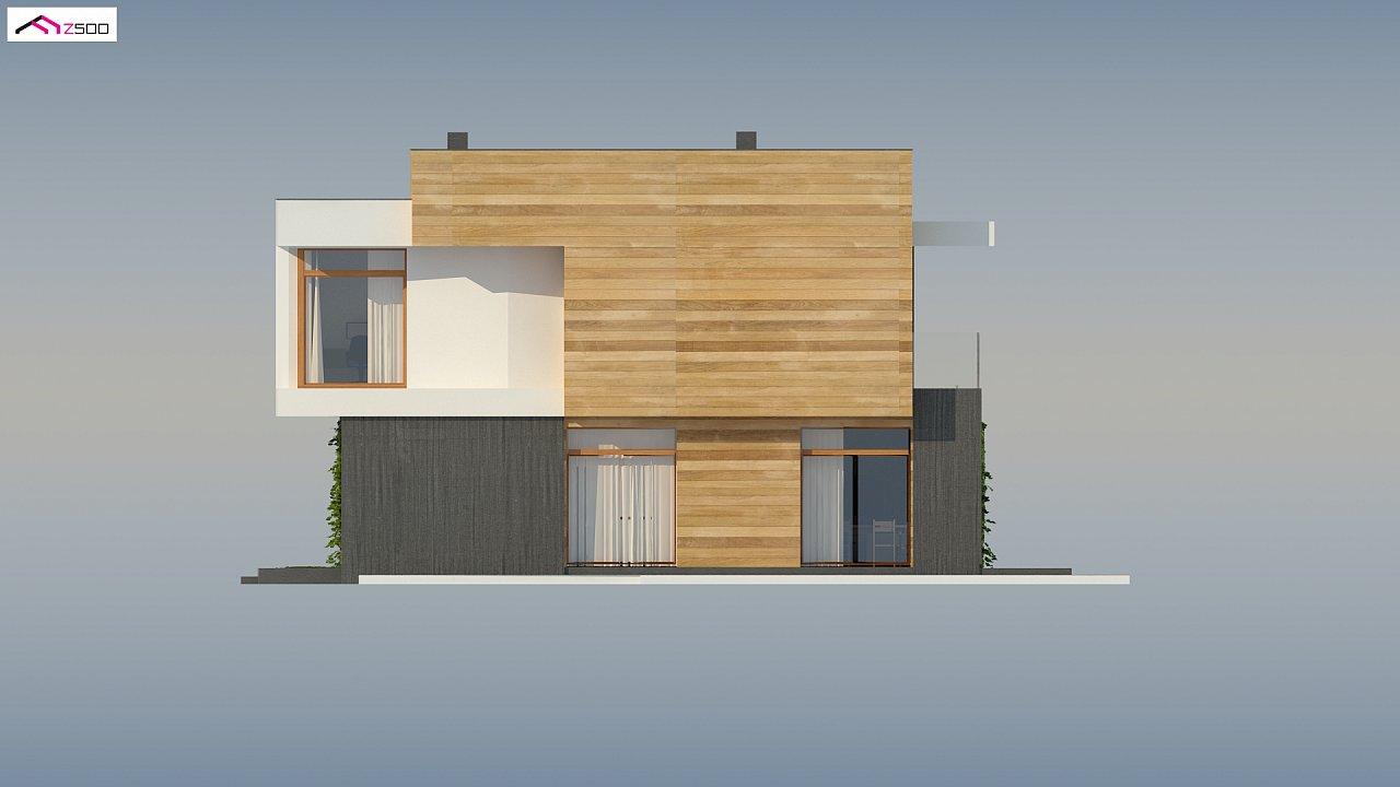 Проект двухэтажного дома в стиле кубизм, подходит для строительства на узком участке. - фото 8