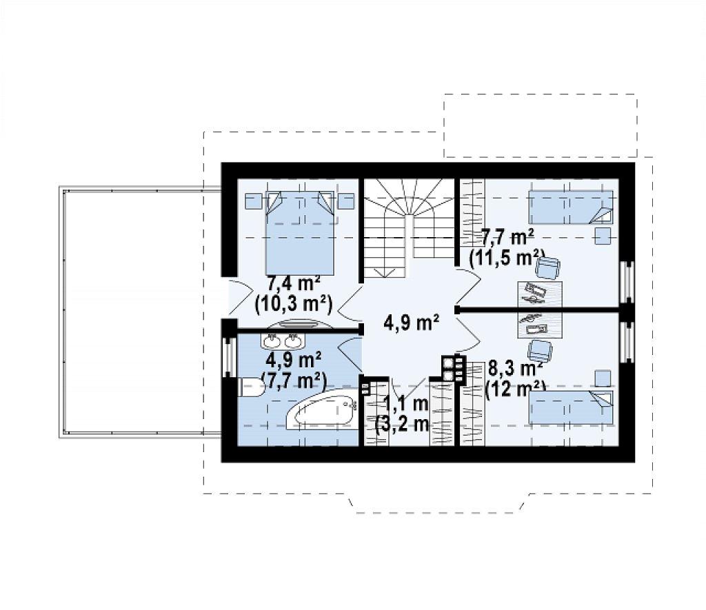 Уютный дом с террасой над гаражом, с возможностью обустройства зимнего сада. план помещений 2
