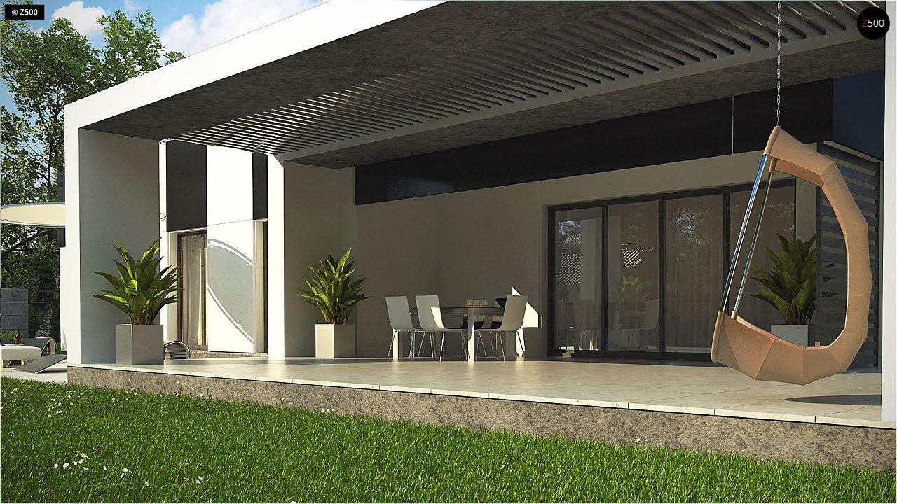 Проект современного одноэтажного дома с черно-белыми фасадами и открытым гаражом на 2 машины 7