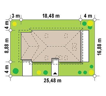 Просторный дом в традиционном стиле с двумя спальнями на мансарде. план помещений 1