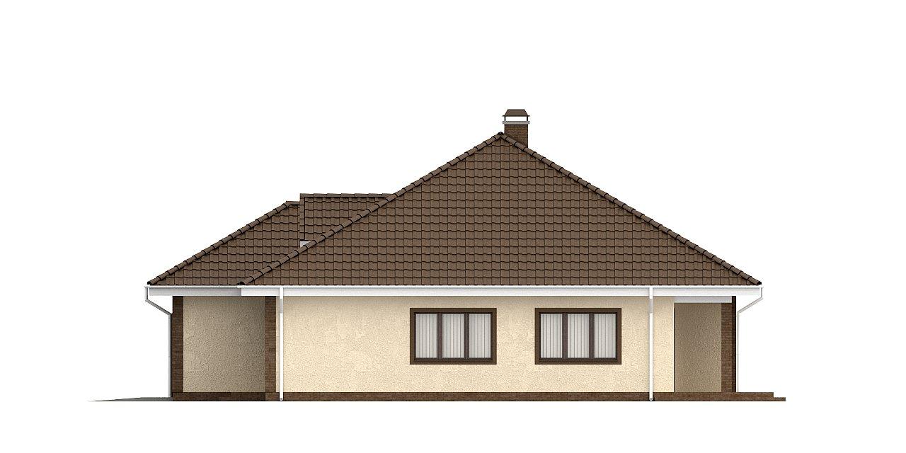 Одноэтажный дом с фронтальным гаражом для двух автомобилей. 24