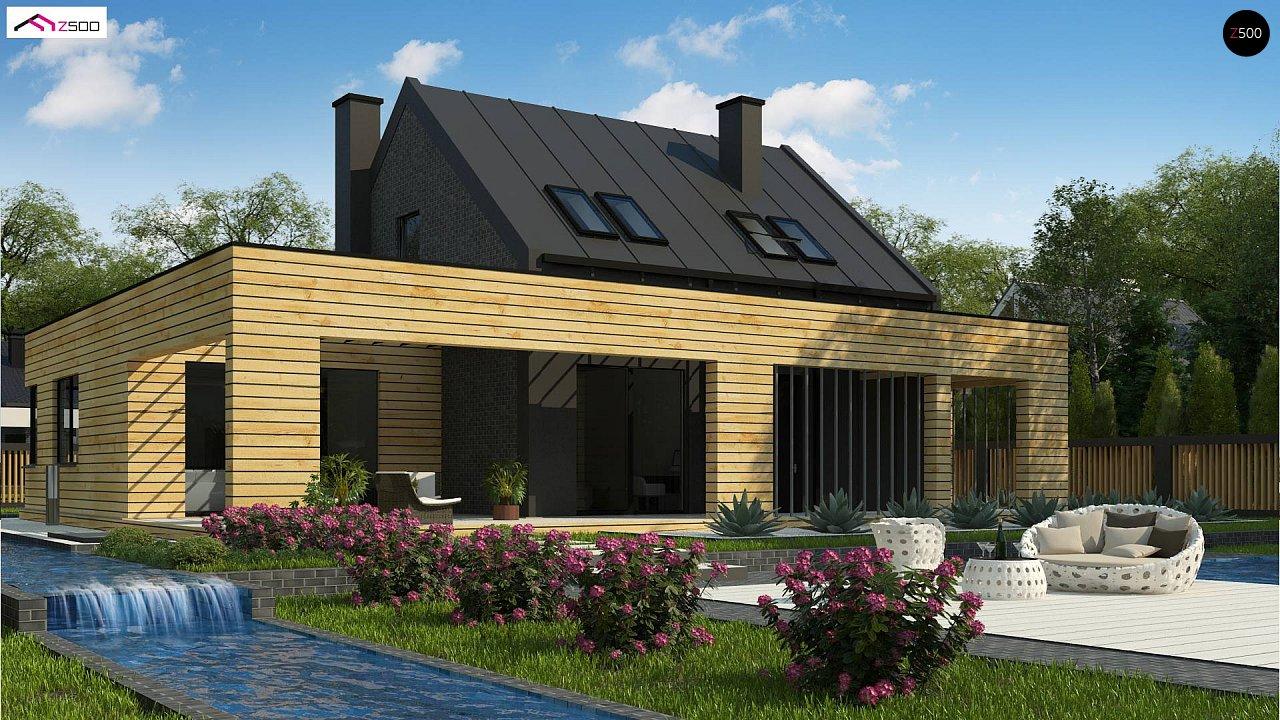 Современный дом с 2-х скатной кровлей, окруженный террасой с плоской крышей. 3