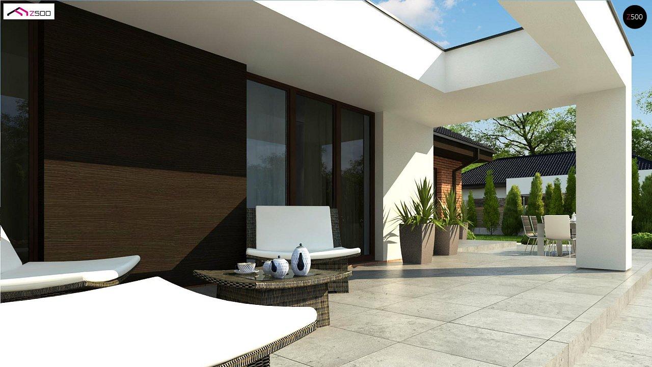 Одноэтажный коттедж со сложной кровлей и большой комфортной террасой - фото 5