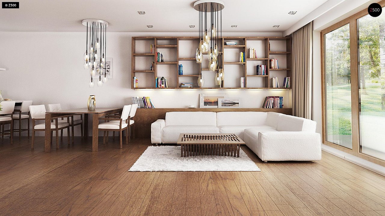 Практичный одноэтажный дом с большим гаражом, просторной гостиной и двумя спальнями. 3