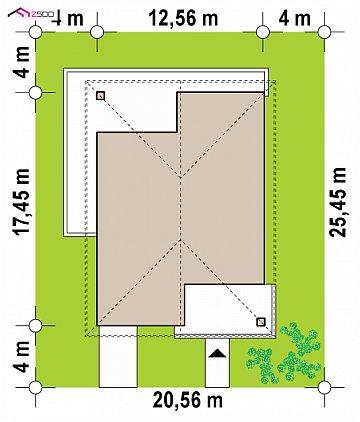 Современный одноэтажный дом с тремя спальнями и гаражом на одну позицию. план помещений 1