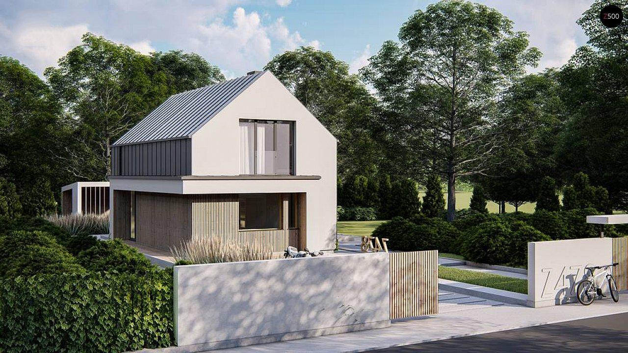 Проект одноэтажного дома с двускатной крышей для небольшого участка 3
