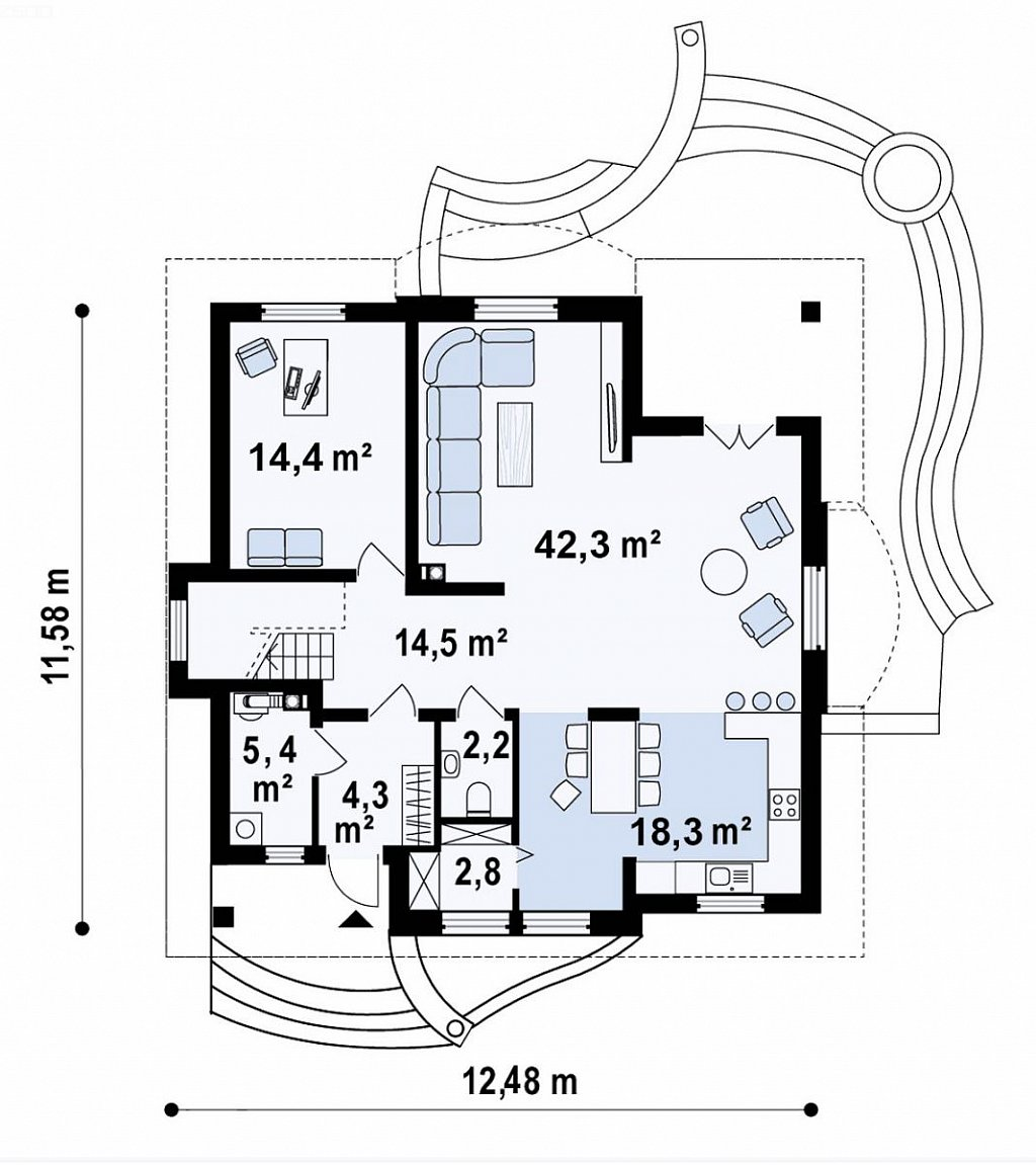 Классический мансардный дом с балконами. план помещений 1