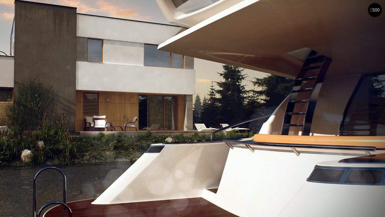 Двухэтажный дом в модернистского дизайна с гаражом и террасой на верхнем этаже. 7