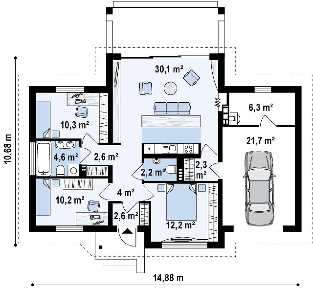 Функциональный компактный дом интересного дизайна. план помещений 1