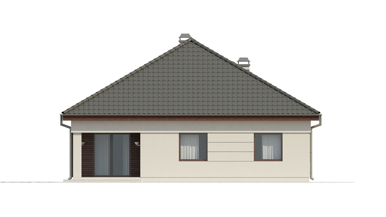 Просторный одноэтажный дом с многоскатной крышей, угловым окном и угловой террасой в дневной зоне. 23