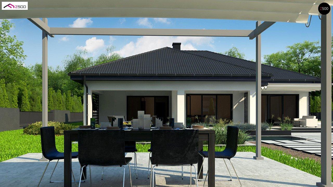 Одноэтажный дом с просторной гостиной и открытой кухней 4