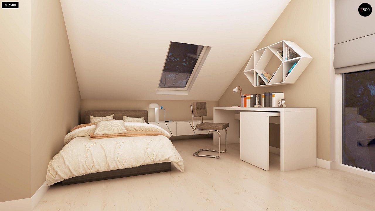 Компактный дом с мансардой, эркером в дневной зоне и c кабинетом на первом этаже. 19