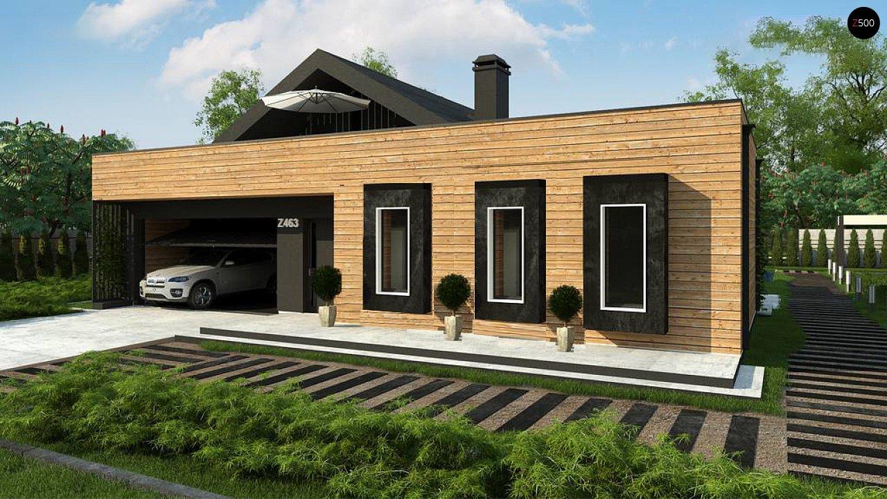 Современный мансардный проект дома с террасой и гаражом на две машины 4