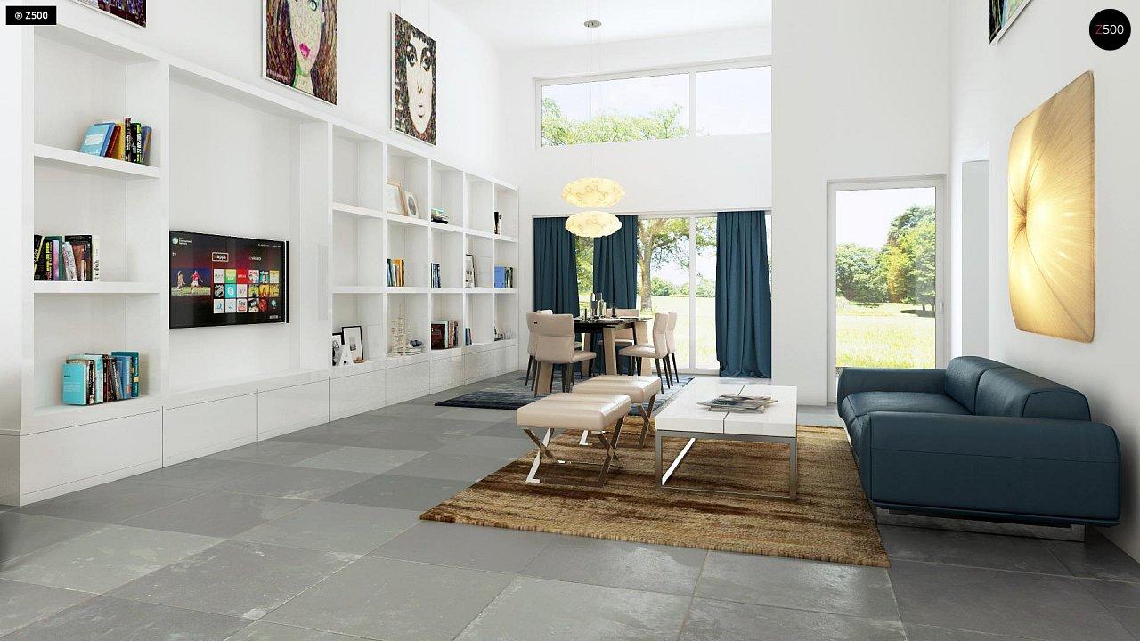 Одноэтажный практичный дом с плоской крышей современного дизайна. 4