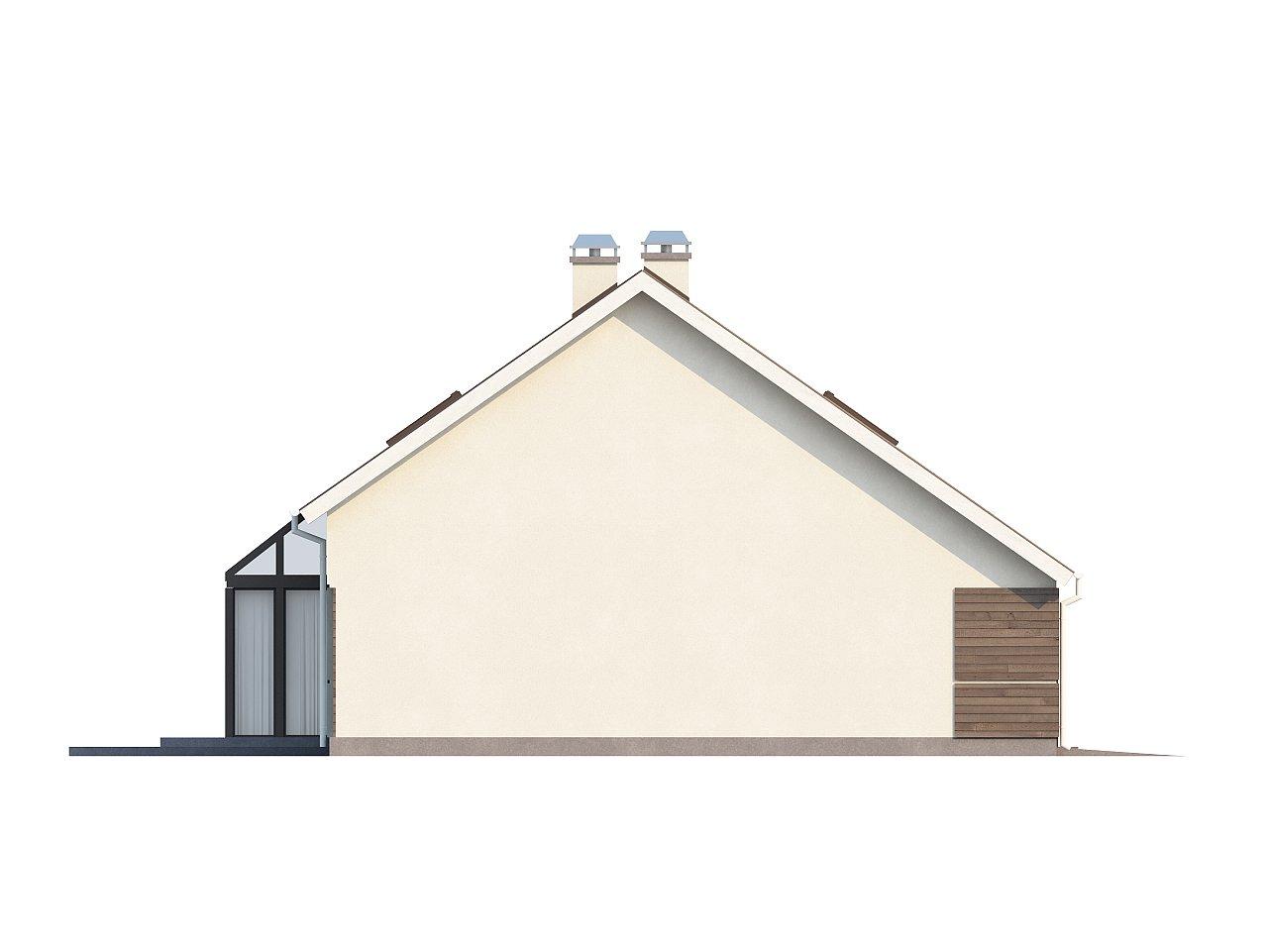 Проект дома с мансардой, с дополнительной спальней на первом этаже и с застекленной террасой. 11