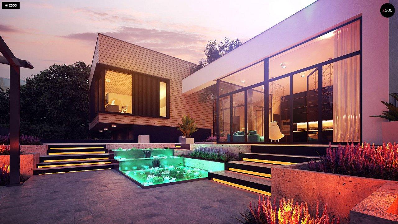 Проект современного дома с плоской кровлей и подземным гаражом. 1