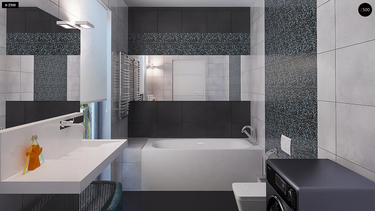 Современный двухэтажный дом с гаражом и террасой, спальней на первом этаже и ванной комнатой 19