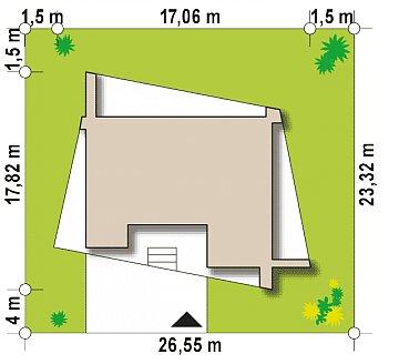 Одноэтажный коттедж с гаражом на одну машину и уютной террасой план помещений 1
